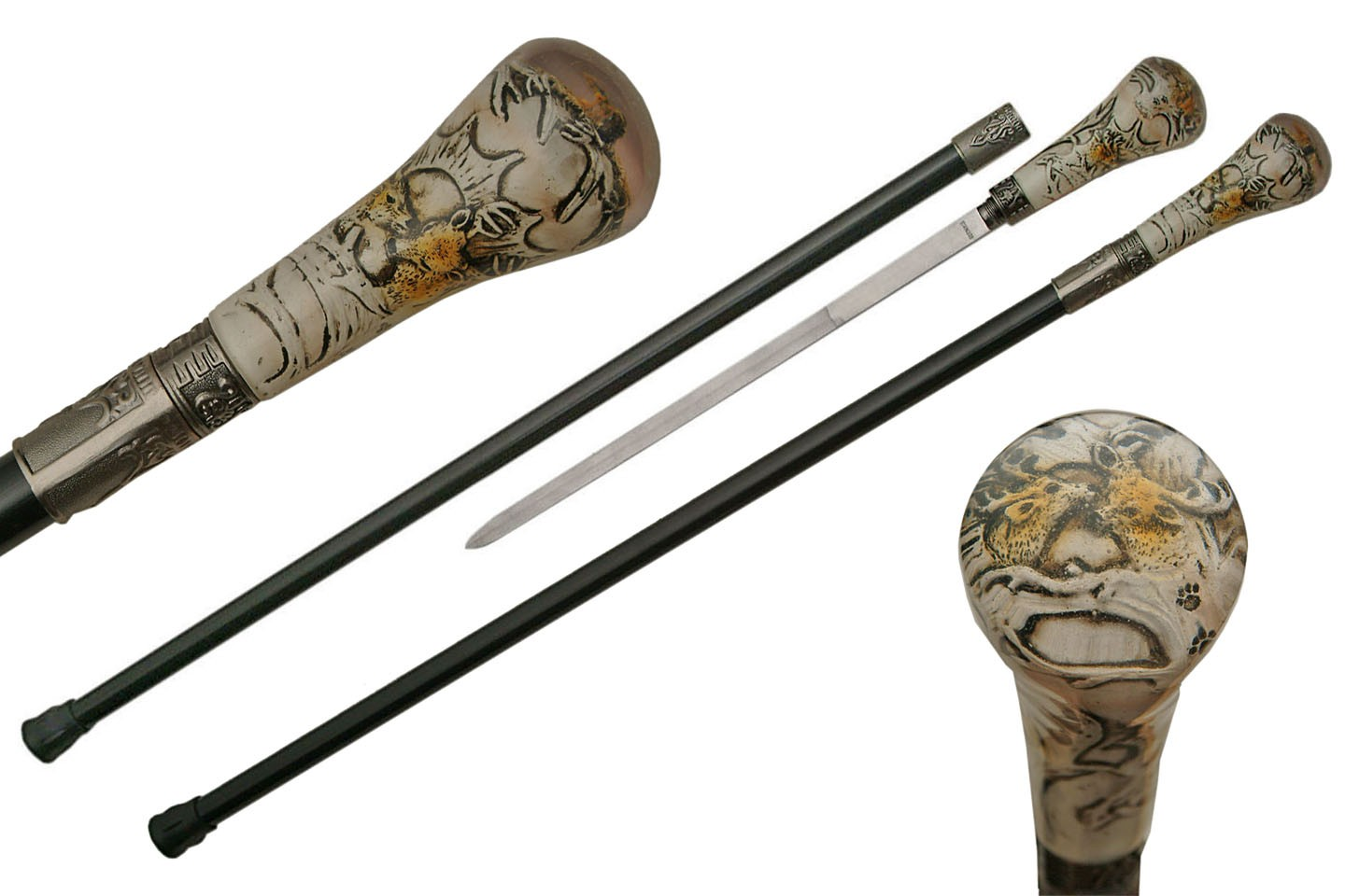 "35.5"" TWIN DEER SWORD CANE"